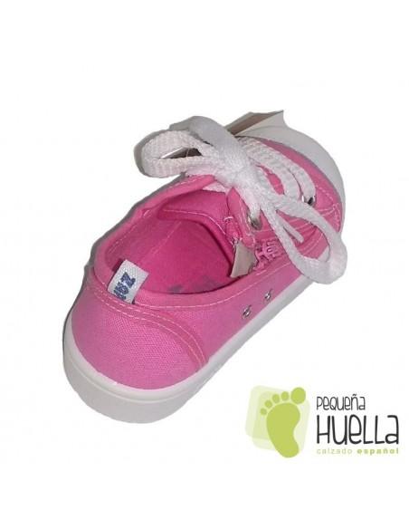 Zapatillas o bambas de Lona rosas para Niñas Con Cordones y Cremallera Zapy