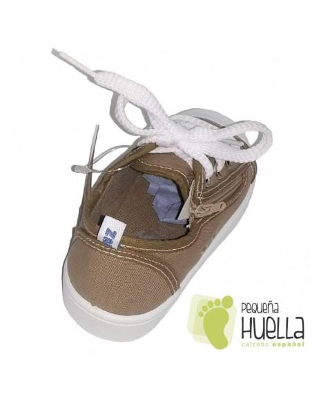 Zapatillas Lona marrón tostado para Niños y Niñas Con Cordones y Cremallera Zapy