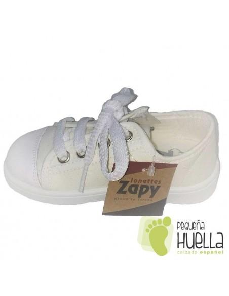 Zapatillas blancas con puntera de goma para niños y niñas