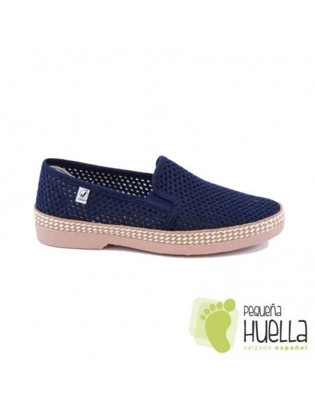 Zapatillas tela perforada azules señores javer 502