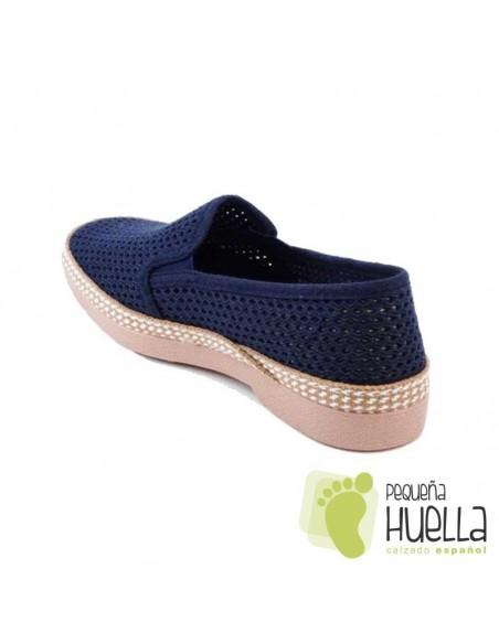 Zapatillas tela calada azules señores Javer 502