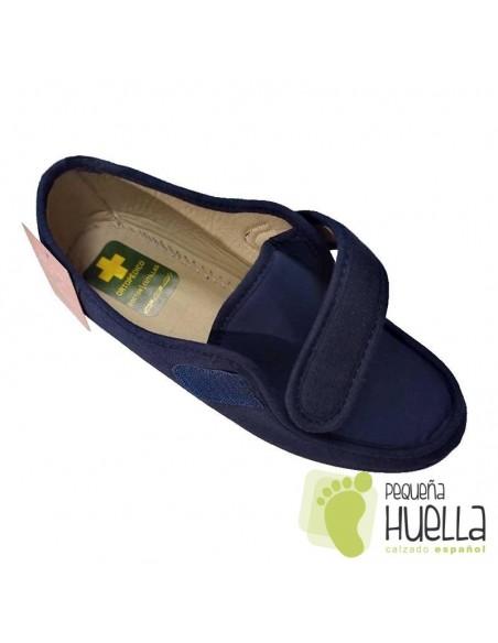 Zapatillas azules  anchas señora mayor de verano Doctor Cutillas 706