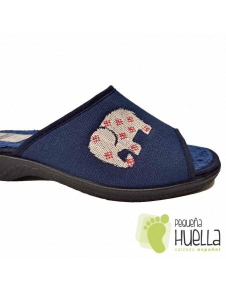 Zapatillas azules toalla rizo cómodas de chica / PERCLA