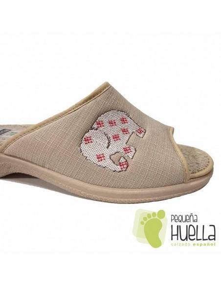 Zapatillas mujer para casa de verano beige / PERCLA