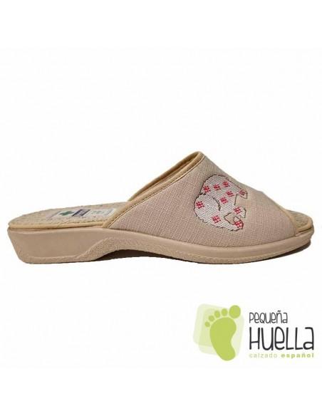 Zapatillas de Casa toalla rizo beige de Mujer / PERCLA