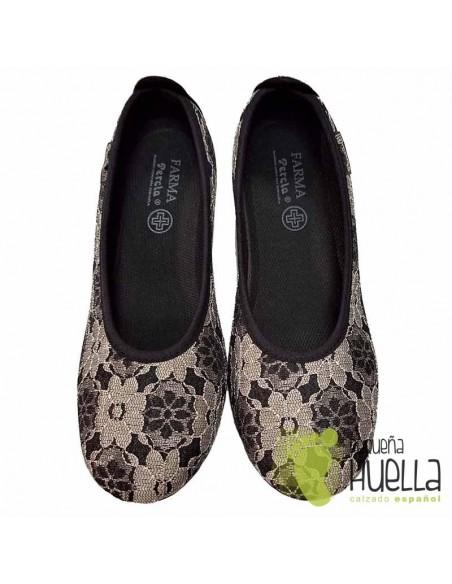 Zapatos negros bajos mujer percla