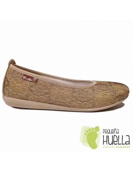 Zapatos bajos dorados señora percla