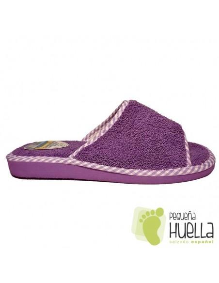 Zapatillas de toalla moradas para chica de verano Berevëre v1235
