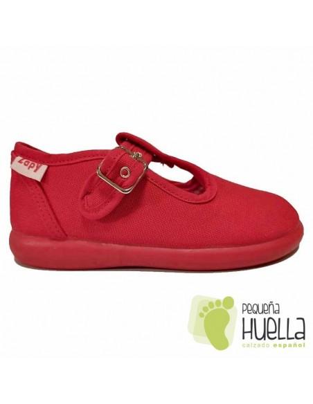 Sandalias de Lona rojas con hebilla bebes, niños y niñas ZAPY 121