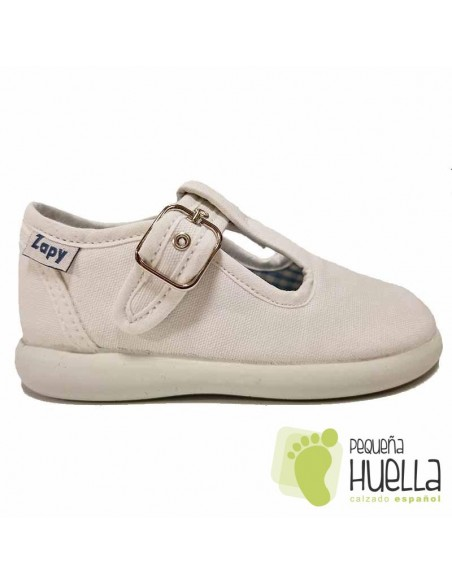 Sandalias de Lona blancas con hebilla bebes, niños y niñas ZAPY 121