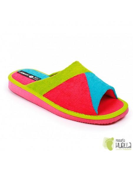 Zapatillas toalla rosa fucsia verano abierta mujer Javer