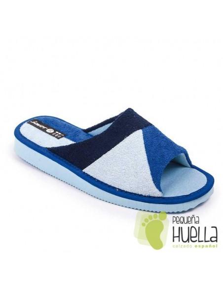 Zapatillas abiertas toalla azules verano mujer Javer