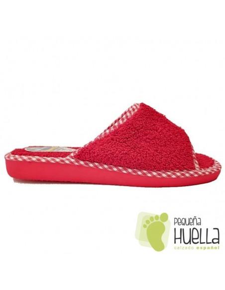 Zapatillas de rizo toalla rojas mujer de verano Berevëre v1235