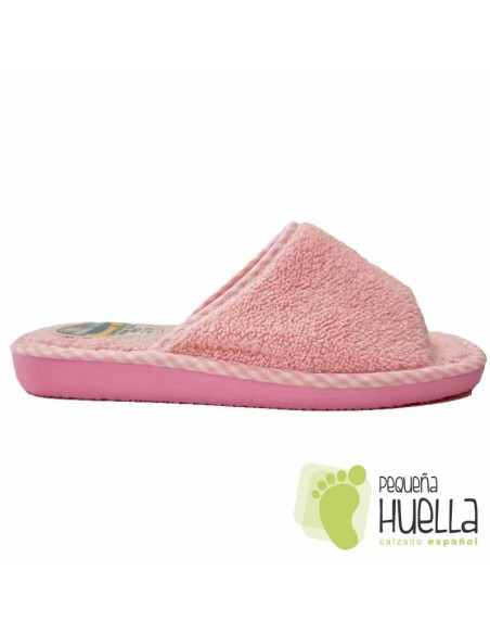 Zapatillas de toalla rosa bebé para chica de verano Berevëre v1235