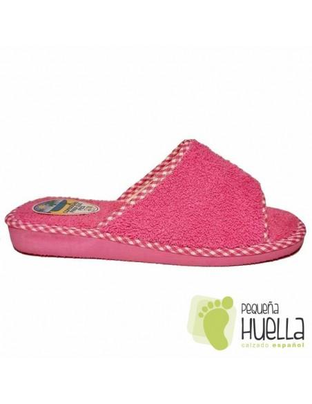 Zapatillas de toalla rosa fucsia para chica de verano Berevëre v1235