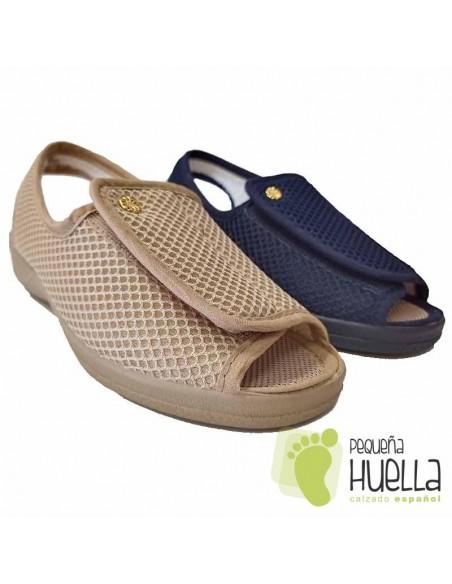 Zapatillas de señora mayor ajustables para el verano
