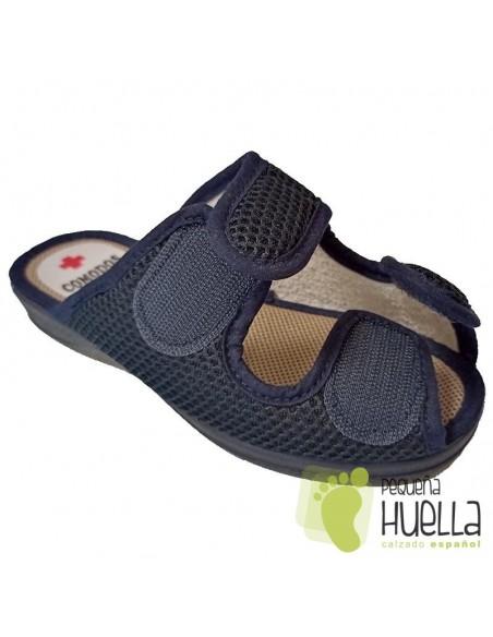 Zapatillas azules anatómicas de mujer con velcro para el verano Ruiz y Gallego