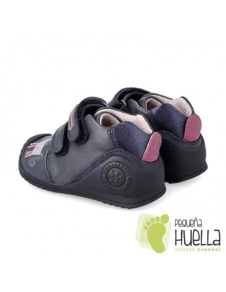 Botas piel azul marino para bebés,  Niños y niñas Biomecanics 201116