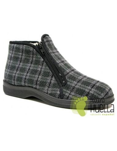 Zapatillas botas para casa de cuadros para señor con cremalleras Doctor Cutillas  21251