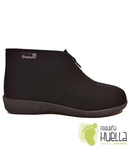 Zapatillas negras para mujer con cremallera PERCLA 47225