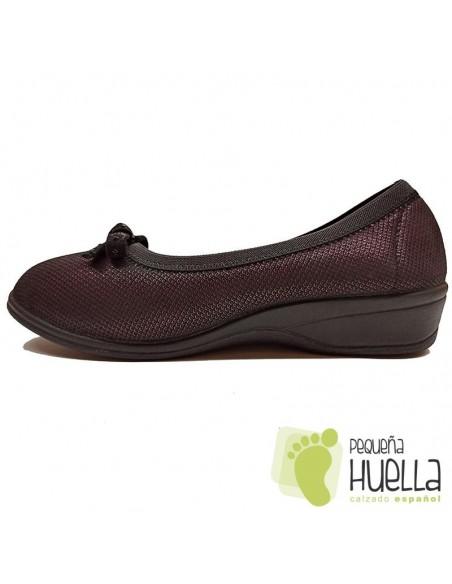 Zapatos burdeos para mujer cómodos de bambú Doctor Cutillas758A