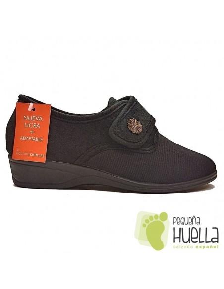 Zapatillas negras para señoras de Licra Doctor Cutillas 761