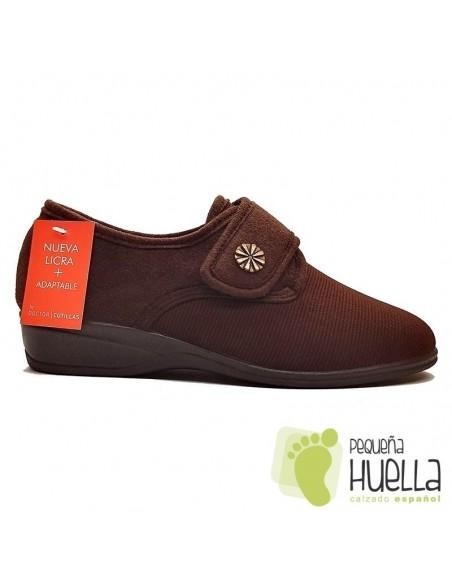 Zapatillas marrones para señoras de Licra Doctor Cutillas 761