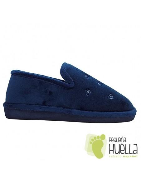 Zapatillas de chica para casa azul marino Berevere IN0585
