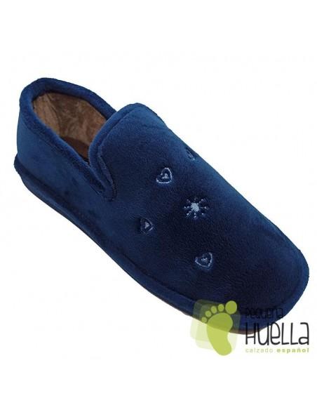 Zapatillas azul marino para casa señora Berevere IN0585