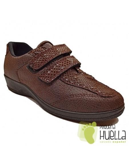 Zapatillas marrones Anatómicas Señora con Velcro, La Percla 477