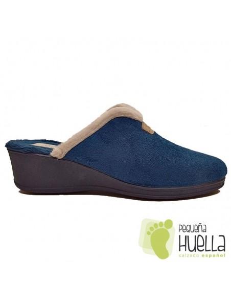 Zapatillas azules con cuña para Mujer J. Ortega 1808