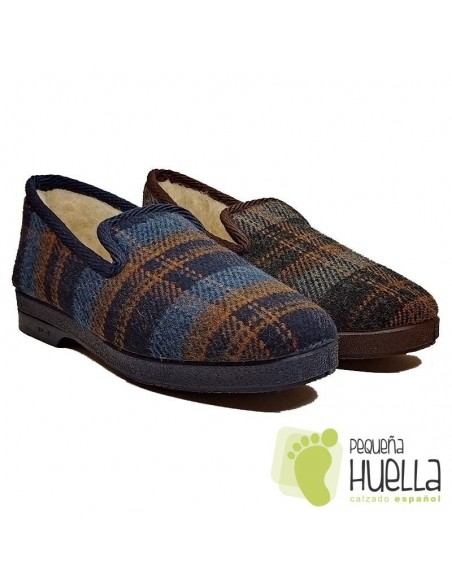 Zapatillas de cuadros lana para Señor CRUAN 670