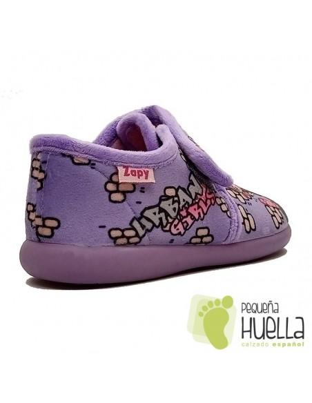 Zapatillas girl para chicas con Velcro moraditas Zapy