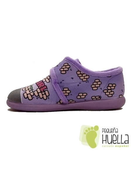 Zapatillas girl para chicas lilas con Velcro Zapy