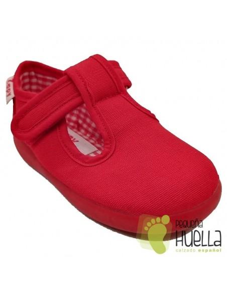 Zapatillas rojas de lona con velcro para niños Zapy