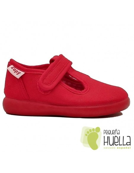 Sandalias rojas de tela con velcro para niños Zapy