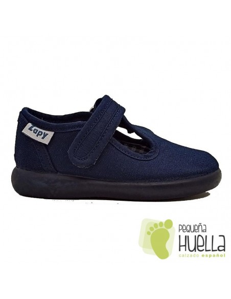 Sandalias azules de tela con velcro para niños Zapy
