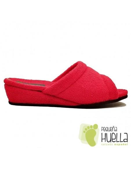 Zapatillas de toalla rojas Mujer Misszapatillas