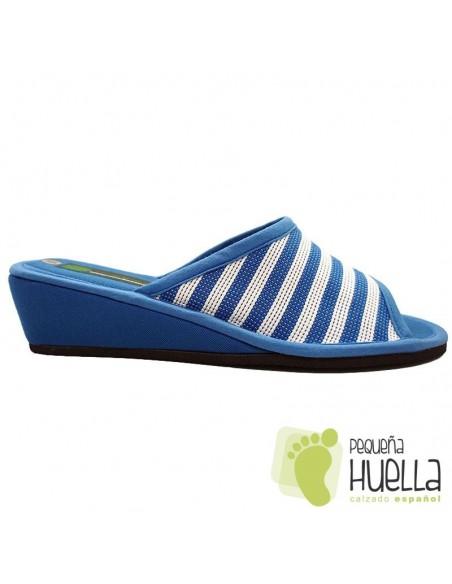 Zapatillas azules de casa para Mujer ergonómicas Misszapatillas 360