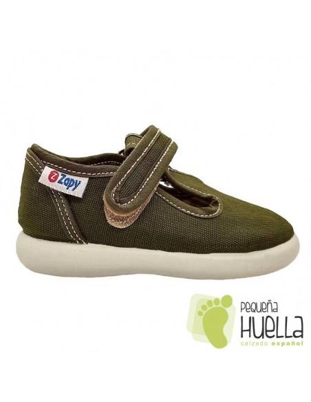 Sandalias verde kaki de tela con velcro para niños Zapy