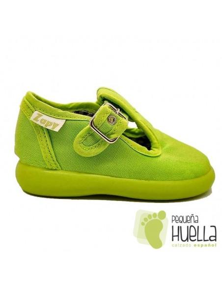 Sandalias de Lona verde pistacho con hebilla bebes, niños y niñas ZAPY 121