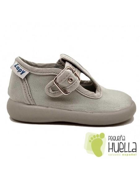 Sandalias de Lona grises con hebilla bebes, niños y niñas ZAPY 121
