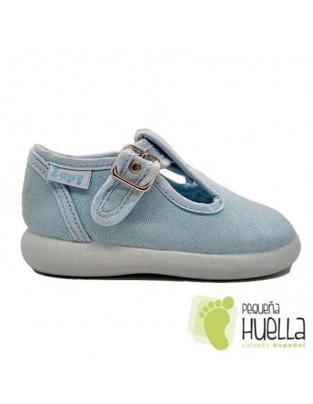 Sandalias de Lona azul celeste con hebilla bebes, niños y niñas ZAPY 121