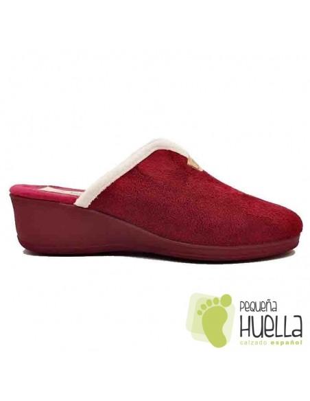Zapatillas burdeos con cuña para Mujer J. Ortega 1808