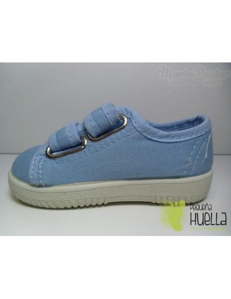 Zapatillas Lona Dos Velcros Azules Celeste