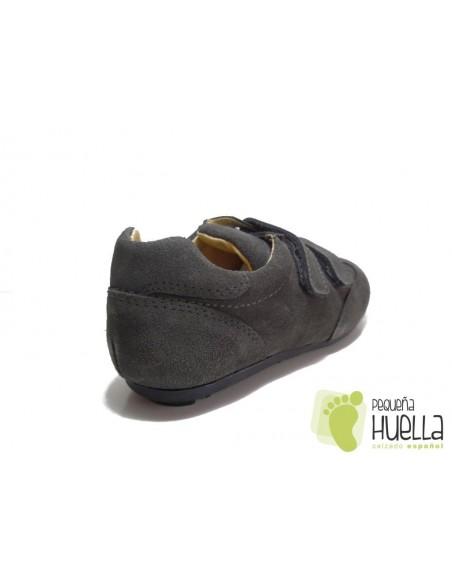 Zapato Tipo Blucher Gris Velcro