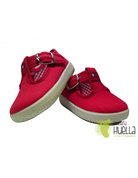 Pepitos Lona Rojos Con Hebilla