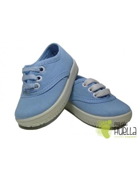 Zapatillas  Con Cordones Tipo Victoria, Azules Celeste