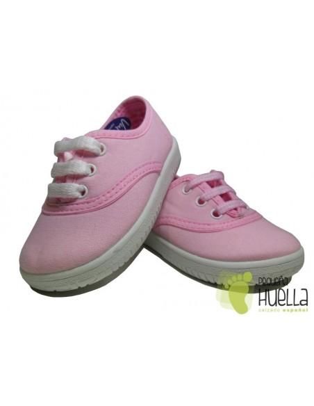Zapatillas  Con Cordones Tipo Victoria, Rosas