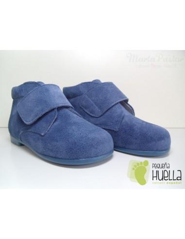 Botita Serraje Velcro Azul Azafata